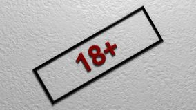 Age limit `18+`. Digital illustration. 3d rendering. Graphic Illustration of age restriction sign Royalty Free Stock Image