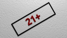 Age limit `21 `. Digital illustration. 3d rendering. Graphic Illustration of age restriction sign Stock Images