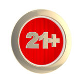 Age limit (21+) round symbol isolated Royalty Free Stock Photo