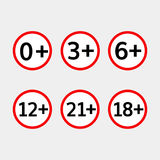 Age limit vector icons set Stock Photography