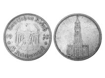Age-old 5-reichsmark coin in grayscale. Obverse and reverse of age-old 5-reichsmark silver coin, 1935, fascist Germany. My wife's grandfather's trophy. Made in royalty free stock photography