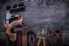 Age-old hacksaw nippers pliers steel cutter claw Royalty Free Stock Photo