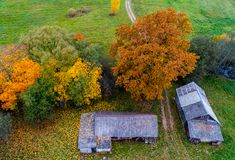 Old homestead from above royalty free stock image