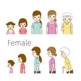 The Life Cycle Of Woman. Generations And Stages Of Human Body Growth. Different Ages, Baby, Child, teenager, adult, Old Person. Age People Development Lifestyle royalty free illustration