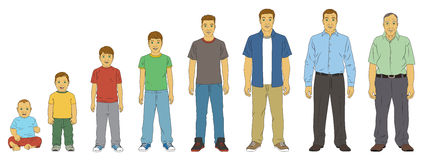 Age Progression of a White (caucasian) Male Full Body Length. A White (Caucasian) Male in various stages of life. Full Body length Stock Photo