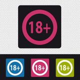 Age Rating 18 Plus Button - Colorful Vector Set - Isolated On Transparent Background Stock Photography