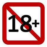 18 age restriction sign. 18 age restriction sign on white background. Vector illustration Royalty Free Stock Photography