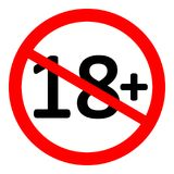 18 age restriction sign. 18 age restriction sign on white background. Vector illustration Stock Images