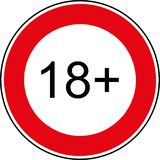 18 age restriction sign royalty free stock photography