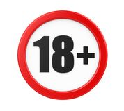 18+ Age Restriction Sign Isolated. On white background. 3D render royalty free illustration