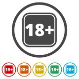 18+ age restriction sign, Vector eighteen icon, 6 Colors Included Stock Photos