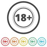 18+ age restriction sign, Vector eighteen icon, 6 Colors Included Royalty Free Stock Photos