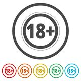 18+ age restriction sign, Vector eighteen icon, 6 Colors Included Stock Photo