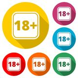 18+ age restriction sign, Vector eighteen icon with long shadow. Simple vector icons set Stock Photos