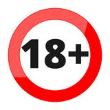 18+ age restriction sign. Vector icon Stock Image