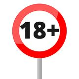 18+ age restriction sign. Vector icon Royalty Free Stock Photos