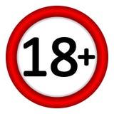 18 age restriction sign. 18 age restriction sign on white background. Illustration Stock Photo