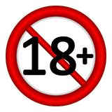 18 age restriction sign. 18 age restriction sign on white background. Illustration royalty free illustration