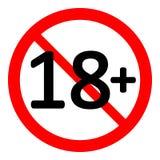18 age restriction sign. 18 age restriction sign on white background. Vector illustration stock illustration