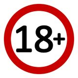 18 age restriction sign. 18 age restriction sign on white background. Vector illustration Stock Photography