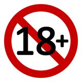 18 age restriction sign. 18 age restriction sign on white background. Vector illustration Royalty Free Stock Images