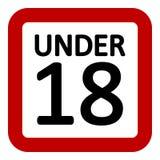 18 age restriction sign. 18 age restriction sign on white background. Vector illustration royalty free illustration