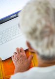 Age spotted hands on the laptop Royalty Free Stock Photo