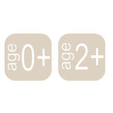 Age squares. Two squares with text on them referring to age Royalty Free Stock Images