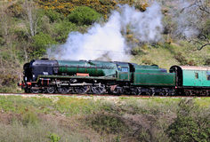 The Age of Steam. Vintage Steam Locomotive on an English Railway Track Royalty Free Stock Photos