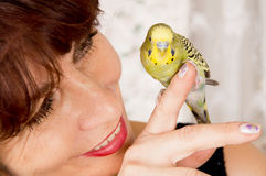 In age woman with a parrot Stock Photos