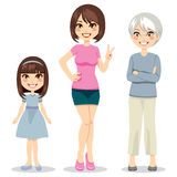 Age of Women. Illustration of three ages of women from child to senior Stock Image