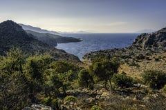 Agean dukt od Bozburun półwysepa pod jasnymi niebieskimi niebami Obraz Royalty Free