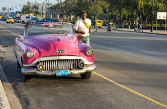 Aged american car in the street in Havana Royalty Free Stock Photo