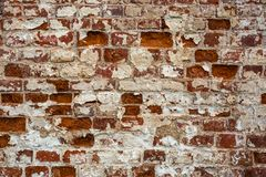 Aged ancient brick street wall background, grunge texture royalty free stock photo