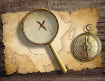 Aged antique nautical compass and magnifying glass vector illustration