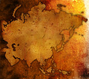 Aged asia map Stock Images