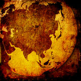 Aged asia map. Vintage artwork Royalty Free Stock Photography