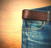 Aged blue jeans Royalty Free Stock Images