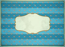 Vintage cardboard frame with hearts Royalty Free Stock Images