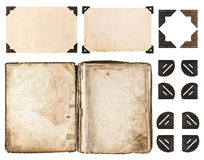 Aged book, photo album, vintage paper card, photo corner Royalty Free Stock Images