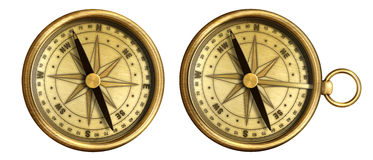 Aged brass antique nautical pocket compass Royalty Free Stock Images