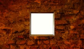 Aged Brick Wall Blank Picture Frame royalty free stock photos