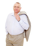 Aged businessman with coat Royalty Free Stock Image