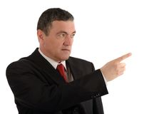 Aged businessman making various gestures isolated on white background royalty free stock photo