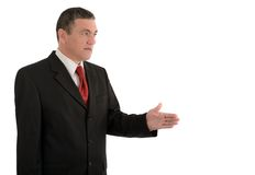 Aged businessman making various gestures isolated on white background stock photo