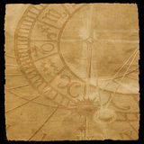 Aged canvas texture with zodiac clock texture royalty free stock photos