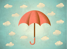 Aged card with umbrella Royalty Free Stock Photos