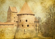Aged castle. Aged photo of old castle stock images