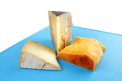 Aged cheeses on blue plastic plate Stock Images