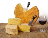 Aged cheeses with wine Royalty Free Stock Photography
